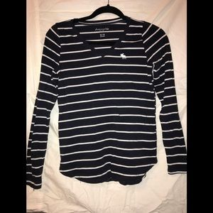 Long sleeve navy and white stripped